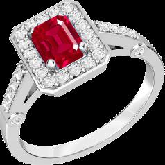 Inel cu Rubin si Diamant Dama Aur Alb 18kt cu un Rubin Forma Smarald cu Diamante Rotund Briliant in Jur