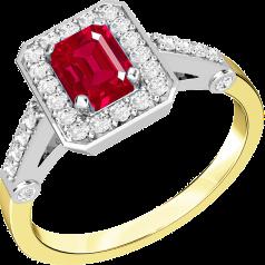 Inel cu Rubin si Diamant Dama Aur Galben si Aur Alb 18kt cu un Rubin Forma Smarald cu Diamante Rotund Briliant in Jur