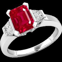 Inel cu Rubin si Diamant Dama Aur Alb 18kt cu un Rubin Octagon si Diamante Forma Trapez