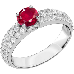 Inel cu Rubin si Diamant Dama Aur Alb 18kt cu un Rubin Rotund si Diamante Rotund Briliant in Setare Pavata pe Lateral