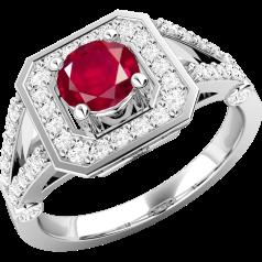 Inel cu Rubin si Diamant Dama Aur Alb 18kt cu un Rubin Rotund inconjurat de Diamante Rotund Briliant Mici