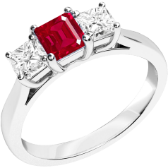 Ruby and Diamond Ring for Women in 18ct white gold with a square cut ruby in the centre and a princess cut diamond on either side, all in a claw setting