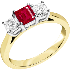 Ruby and Diamond Ring for Women in 18ct yellow and white gold with a square cut ruby in the centre and a princess cut diamond on either side, all in a claw setting