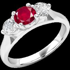 Rubin und Diamant Ring für Dame in 18kt Weißgold mit einem runden Rubin in der Mitte und Brillanten auf beiden Seiten