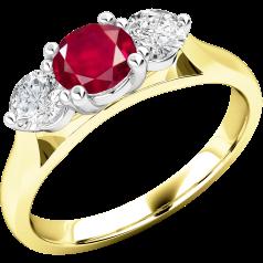 Rubin und Diamant Ring für Dame in 18kt Gelbgold und Weißgold mit einem runden Rubin in der Mitte und Brillanten auf beiden Seiten