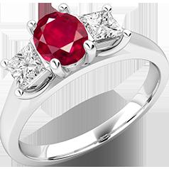 Inel cu Rubin si Diamant Dama Aur Alb 18kt cu un Rubin Oval in Centru si Diamante Princess pe Margini