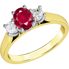Ruby and Diamond Ring for Women in 18ct yellow and white gold with an oval ruby centre and a round brilliant cut diamond on either side, all in a claw setting