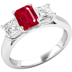 Ruby and Diamond Ring for Women in 18ct white gold with an emerald cut ruby in the centre and a princess cut diamond on either side, all in a claw setting