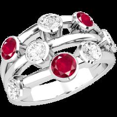 Inel cu Rubin si Diamant Dama Aur Alb 18kt cu 5 Diamante Rotund Briliant si 3 Rubine Rotunde in Setare Rub Over, Inel Cocktail