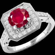 Inel cu Rubin si Diamant Dama Aur Alb 18kt cu un Rubin Rotund in Centru si Diamante Rotund Briliant