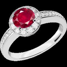 Inel cu Rubin si Diamant Dama Aur Alb 18kt cu un Rubin Rotund in Setare Gheare si Diamante Rotund Briliant