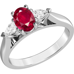 Inel cu Rubin si Diamant Dama Aur Alb 18kt cu un Rubin Oval si Diamante in Forma de Para