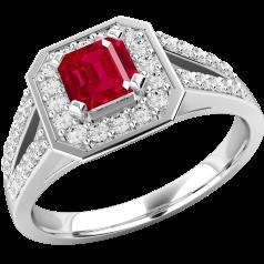 Inel cu Rubin si Diamant Cluster Dama Aur Alb 18kt cu un Rubin Patrat in Centru si Diamante Rotund Briliant pe Margini