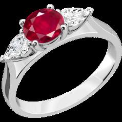 Inel cu Rubin si Diamant Dama Aur Alb 18kt cu un Rubin Rotund si 2 Diamante Forma Para in Setare Gheare
