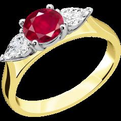 Rubin und Diamant Ring für Dame in 18kt Gelbgold und Weißgold mit einem runden Rubin und 2 Tropfen-Schliff Diamanten