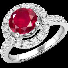 Inel cu Rubin si Diamant Dama Aur Alb 18kt cu un Rubin Rotund in Centru Inconjurat de Diamante Rotund Briliant