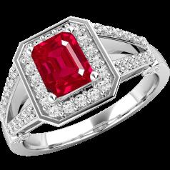 Inel cu Rubin si Diamant Dama Aur Alb 18kt cu un Rubin Forma Smarald in Mijloc si Diamante Rotund Briliant
