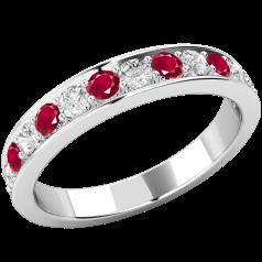 Inel cu Rubin si Diamant Dama Aur Alb 18kt cu 7 Rubine Rotunde si 6 Diamante Rotunde in Setare Gheare