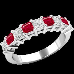 Inel cu Rubin si Diamant Dama Aur Alb 18kt cu 5 Rubine in Forma Patrata si 4 Diamante Princess in Setare Gheare