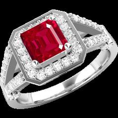 Inel cu Rubin si Diamant Dama Aur Alb 18kt cu un Rubin Patrat si Diamante Rotund Briliant pe Margini
