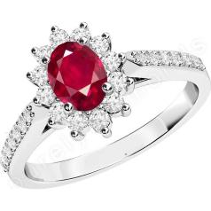 Inel cu Rubin si Diamant Dama Aur Alb 18kt cu un Rubin Oval si Diamante Rotunde in Jur si pe Lateral