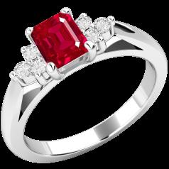 Inel cu Rubin si Diamant Dama Aur Alb 18kt cu un Rubin Forma Octagon in Centru si 3 Diamante Rotund Briliant pe Margini