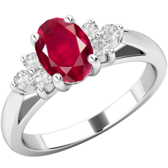 Ruby and Diamond Ring for Women in 18ct white gold with an oval ruby centre and 3 round brilliant cut diamonds on either side, all in a claw setting