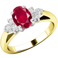 Ruby and Diamond Ring for Women in 18ct yellow and white gold with an oval ruby centre and 3 round brilliant cut diamonds on either side, all in a claw setting