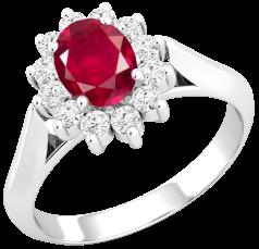 Inel cu Rubin si Diamant Dama Aur Alb 18kt cu un Rubin Oval in Centru si Diamante Rotund Briliant Imprejur