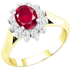 Ruby and Diamond Cluster Ring for Women in 18ct yellow and white gold with an oval ruby centre surrounded by round brilliant cut diamonds, all in a claw setting