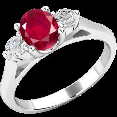 Inel cu Rubin si Diamant Dama Aur Alb 18kt cu un Rubin Oval si 2 Diamante Rotund Briliant in Setare Gheare