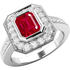 Inel cu Rubin si Diamant Dama Aur Alb 18kt cu un Rubin Forma Smarald si Diamante Rotund Briliant in Setare Gheare