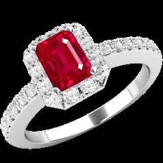 Inel cu Rubin si Diamant Dama Aur Alb 18kt cu un Rubin in Forma de Smarald in Centru si Diamante Rotund Briliant in Setare Gheare