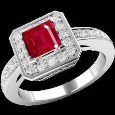 Inel cu Rubin si Diamant Dama Aur Alb 18kt cu un Rubin Patrat in Centru si Diamante Rotund Briliant Toate in Setare Gheare