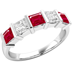 Ruby and Diamond Eternity Ring for Women in 18ct white gold with 3 square cut rubies and 2 princess cut diamonds, all in a bar setting