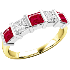 Ruby and Diamond Eternity Ring for Women in 18ct yellow and white gold with 3 square cut rubies and 2 princess cut diamonds, all in a bar setting
