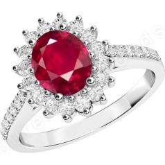 RDR607W-Inel cu Rubin si Diamant Dama Aur Alb 18kt cu un Safir in Forma Ovala in Centru si Diamante Mici Rotund Briliant Imprejur si pe Margini