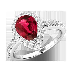 RDR620W-Inel cu Rubin si Diamant Dama Aur Alb 18kt cu un Rubin in Centru in Forma Para si 30 Diamante Mici Rotunde Brilliant