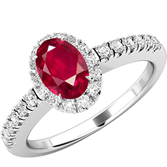 Inel Rubin si Diamante Dama Aur Alb 18kt cu un Rubin Oval si Diamante Rotunde