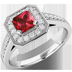 Inel cu Rubin si Diamant Dama Aur Alb 18kt cu un Rubin Patrat si Diamante Mici Rotund Briliant pe Margini