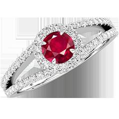 RDR667W-Inel cu Rubine si Diamante Dama Aur Alb 18kt cu un Rubin Rotund Briliant Central si Diamante Mici pe Laterale