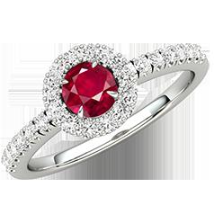 RDR675W-Inel cu Rubin si Diamante Dama Aur Alb 18kt cu un Rubin in Centru si Diamante Rotunde Briliant, Stil Halo si Diamante Laterale
