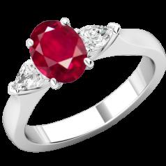 RDR713W-Inel cu Rubin si Diamante Dama Aur Alb 18kt un Rubin Oval si 2 Diamante Forma Para pe Margini