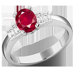 RDR718W-Inel cu Rubin si Diamante Dama Aur Alb 18kt cu 4 Diamante, cu un Rubin Central Oval si Diamante Forma Bagheta pe Margini