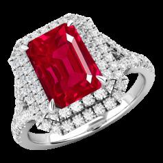 RDR742W-Inel cu Rubin si Diamante Dama Aur Alb 18kt cu un Rubin Central Taietura Smarald si Diamante Mici Rotund Briliant Imprejur si pe Lateral