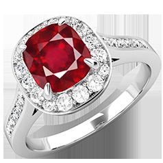 RDR743W-Inel cu Rubin si Diamant Dama Aur Alb 18kt cu un Rubin Cushion Cut si Diamante Rotund Briliant Imprejur si pe Margini