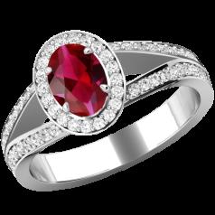 Inel cu Rubin si Diamante Dama Aur Alb 18kt cu un Rubin Central Oval si Diamante Mici Rotund Briliant Imprejur si pe Margini