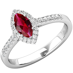 RDR778W-Inel Cocktail/Inel cu Rubin si Diamante Dama Aur Alb 18kt cu Rubin Forma Marchiza si Diamante Rotunde Mici