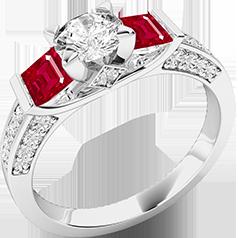 RDRR554W- Inel cu Rubin si Diamant Dama Aur Alb 18kt cu un Diamante Rotund Briliant si pe Ambele Parti cate un Rubin Patrat