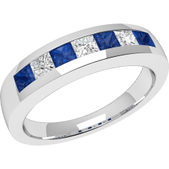 Sapphire and Diamond Ring for Women in 18ct white gold with 4 square sapphires and 3 princess cut diamonds, all in a channel setting